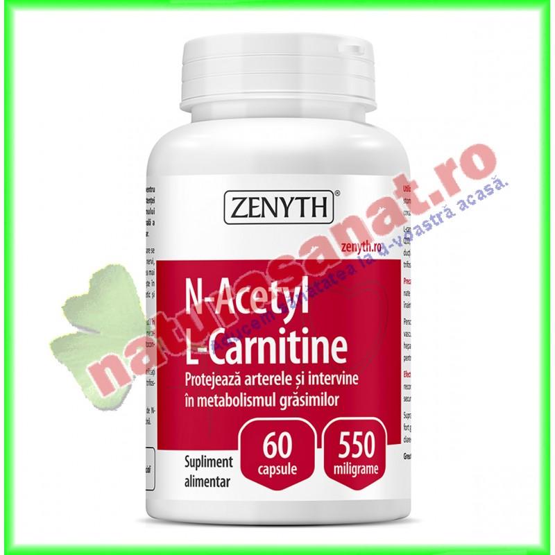 N-Acetyl L-Carnitine 550 mg 60 capsule - Zenyth - www.naturasanat.ro