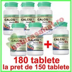 Calciu + Vitamina D3 PROMOTIE 180 tablete la pret de 150 tablete - Cosmo Pharm - www.naturasanat.ro