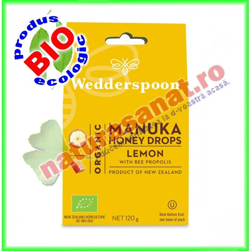 Bomboane cu Miere de Manuka, Lamaie si Propolis 120 g - Wedderspoon - www.naturasanat.ro