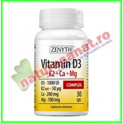 Vitamin D3 + K2 + Ca + Mg Complex 30 capsule - Zenyth - www.naturasanat.ro