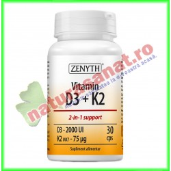 Vitamin D3 + K2 30 capsule - Zenyth - www.naturasanat.ro