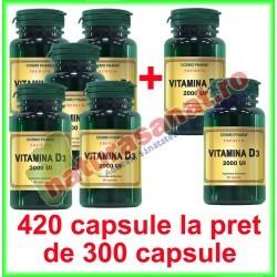 Vitamina D3 2000 UI PROMOTIE 420 capsule la pret de 300 capsule - Cosmo Pharm - www.naturasanat.ro