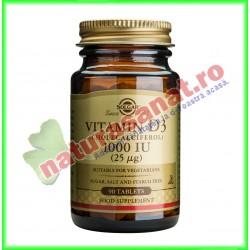 Vitamina D3 1000 UI (25 µg) 90 tablete - Solgar- www.naturasanat.ro