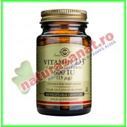 Vitamina D3 600ui (Colecalciferol) (15 µg) 60 capsule vegetale - Solgar - www.naturasanat.ro