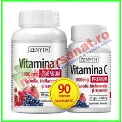 Vitamina C Premium cu rodie 1000 mg PROMOTIE 90 capsule la pret de 60 capsule - Zenyth - www.naturasanat.ro