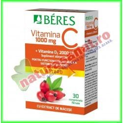 Vitamina C 1000 mg + Vitamina D3 2000 UI 30 comprimate - Beres - www.naturasanat.ro