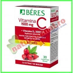 Vitamina C 1500 mg + Vitamina D3 3000 UI 30 comprimate - Beres - www.naturasanat.ro