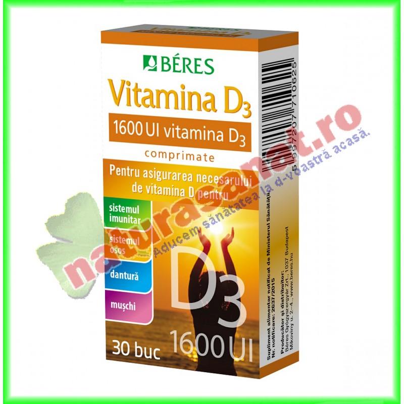 Vitamina D3 1600UI 30 comprimate - Beres - www.naturasanat.ro