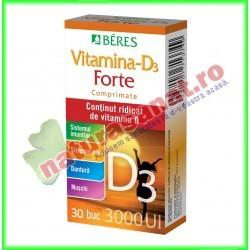 Vitamina D3 Forte 3000UI 30 comprimate - Beres - www.naturasanat.ro