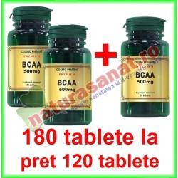 BCAA 500 mg PROMOTIE 180 tablete la pret de 120 tablete - Cosmo Pharm - www.naturasanat.ro
