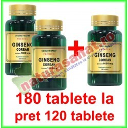 Ginseng Corean (Panax ginseng) Extract 100 mg PROMOTIE 180 tablete la pret de 120 tablete - Cosmo Pharm - www.naturasanat.ro
