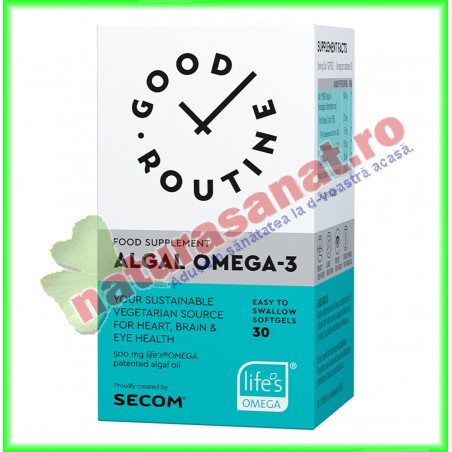 Algal Omega-3 30 capsule vegetale - Good Routine - Secom - www.naturasanat.ro