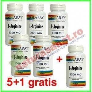 PROMOTIE L - Arginine 1000mg 30 tablete cu dizolvare rapida 5+1 gratis - Solaray - Secom