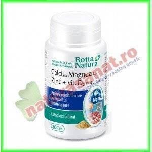 Calciu Magneziu Zinc + Vitamina D2 Natural 30 capsule - Rotta Natura