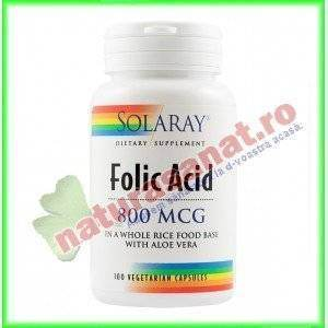 Folic Acid 800mcg 100 capsule vegetale - Solaray - Secom