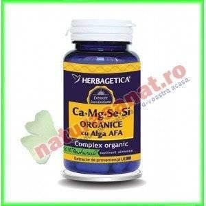Ca Mg Se Si (Calciu Magneziu Seleniu Siliciu) Organice cu Alga AFA 30 capsule - Herbagetica